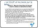 1 la cclat et les taxes sur le tabac