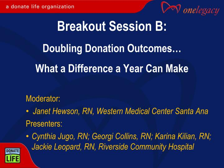 breakout session b doubling donation outcomes what a difference a year can make n.
