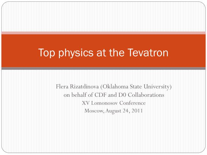 top physics at the tevatron n.