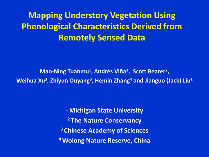 mapping understory vegetation using phenological characteristics derived from remotely sensed data n.