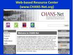 web based resource center www chans net org