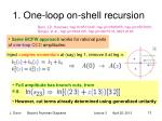 1 one loop on shell recursion