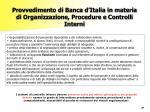 provvedimento di banca d italia in materia di organizzazione procedure e controlli interni