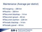 maintenance average per district