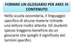 fornire un glossario per aree di contenuto1