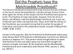 did the prophets have the melchizedek priesthood