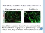 neuronal phenotype sensitivities to a2