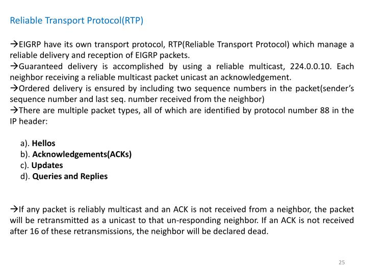 Reliable Transport Protocol(RTP)