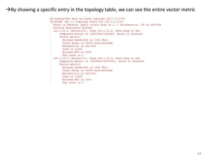 By showing a specific entry in the topology table, we can see the entire vector metric