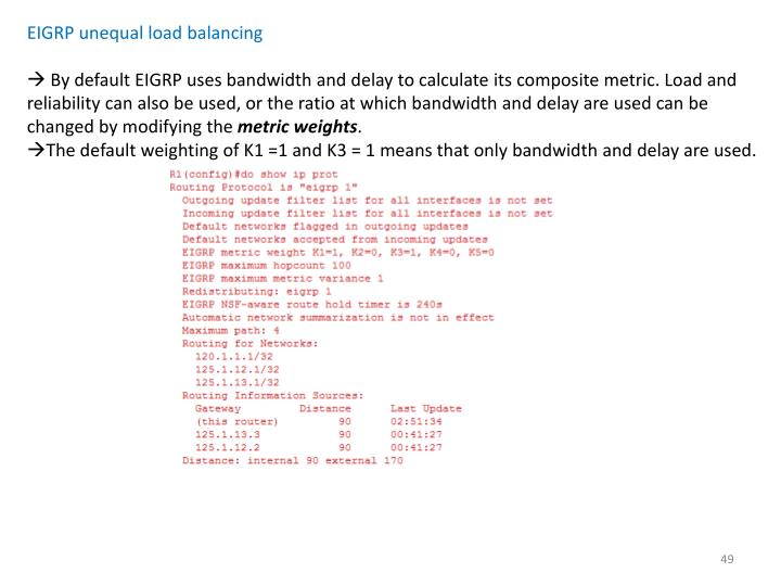 EIGRP unequal load balancing