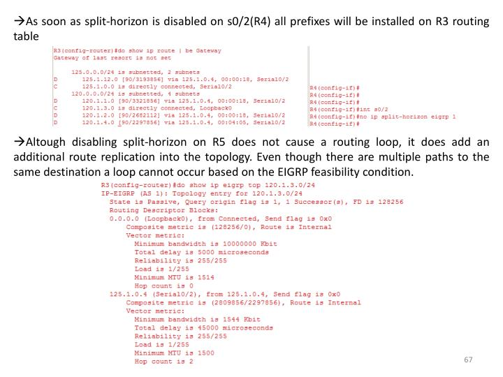 As soon as split-horizon is disabled on s0/2(R4) all prefixes will be installed on R3 routing table
