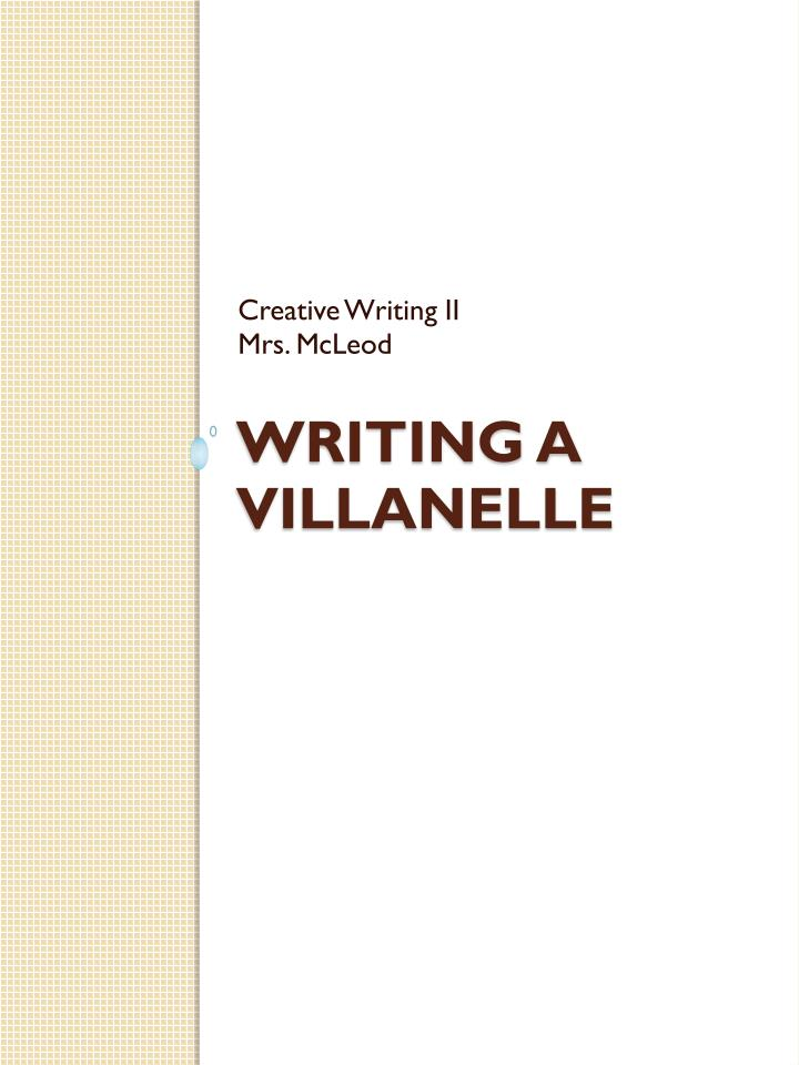 writing a villanelle n.
