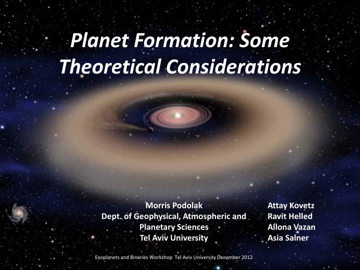 planet formation some theoretical considerations n.