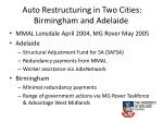 auto restructuring in two cities birmingham and adelaide