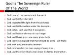 god is the sovereign ruler of the world