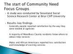 the start of community need focus groups