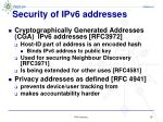 security of ipv6 addresses