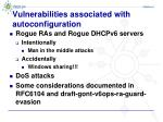 vulnerabilities associated with autoconfiguration