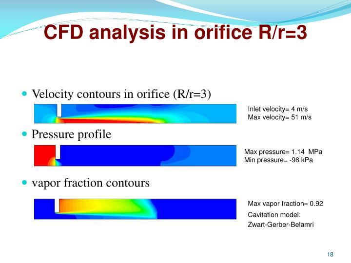 CFD analysis in orifice R/r=3