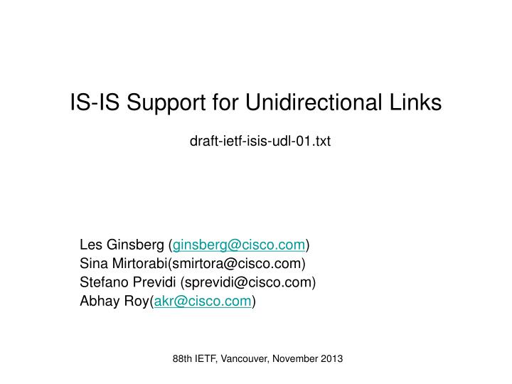 is is support for unidirectional links draft ietf isis udl 01 txt n.