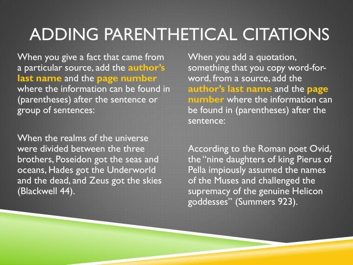 Adding parenthetical citations