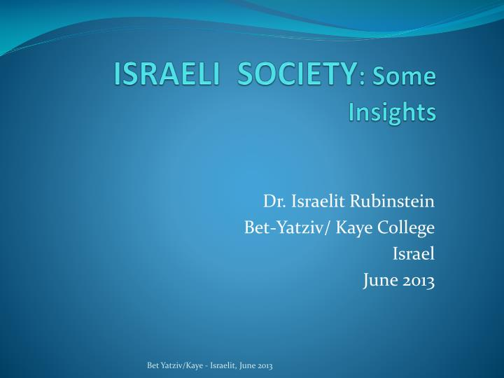 israeli society some insights n.