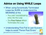 advice on using while loops