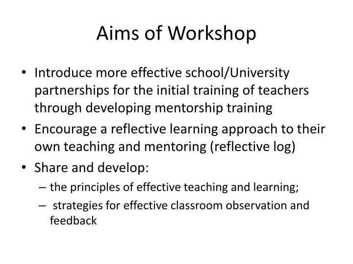 aims of workshop n.