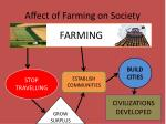 affect of farming on society