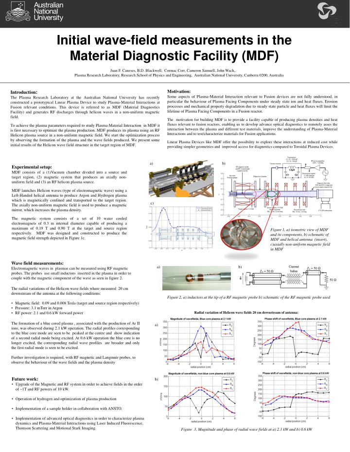 initial wave field measurements in the material diagnostic facility mdf n.