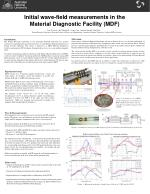 initial wave field measurements in the material diagnostic facility mdf