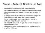 status ambient timelines at 1au
