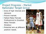 project progress market rationale target group