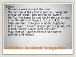 activities academic integration