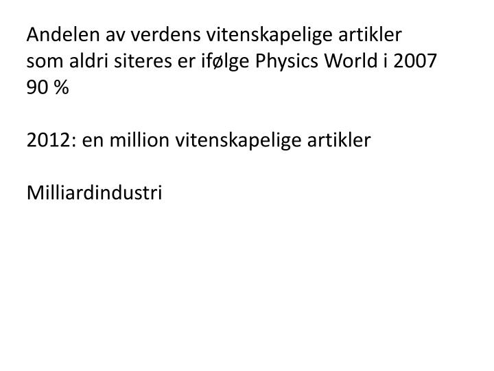 Andelen av verdens vitenskapelige artikler som aldri siteres er ifølge