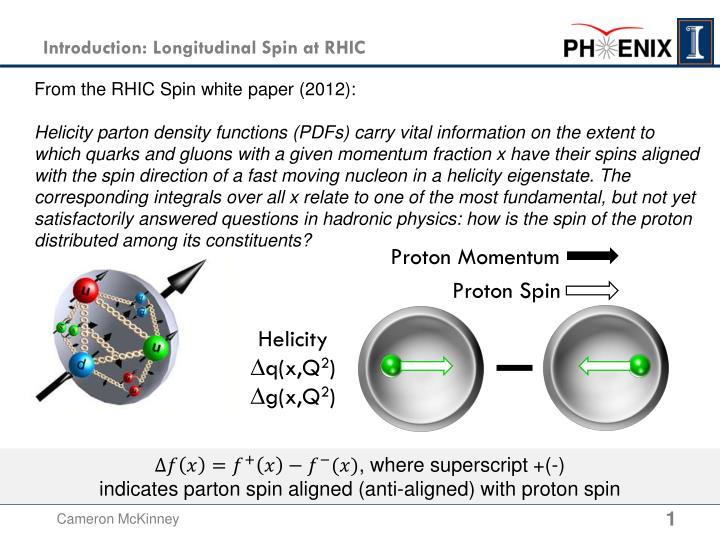 Introduction longitudinal spin at rhic
