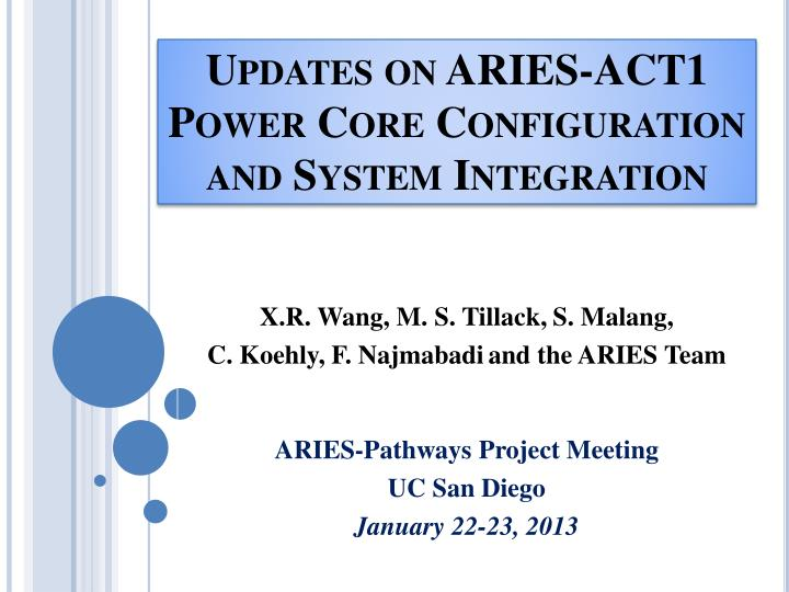 updates on aries act1 power core configuration and system integration n.