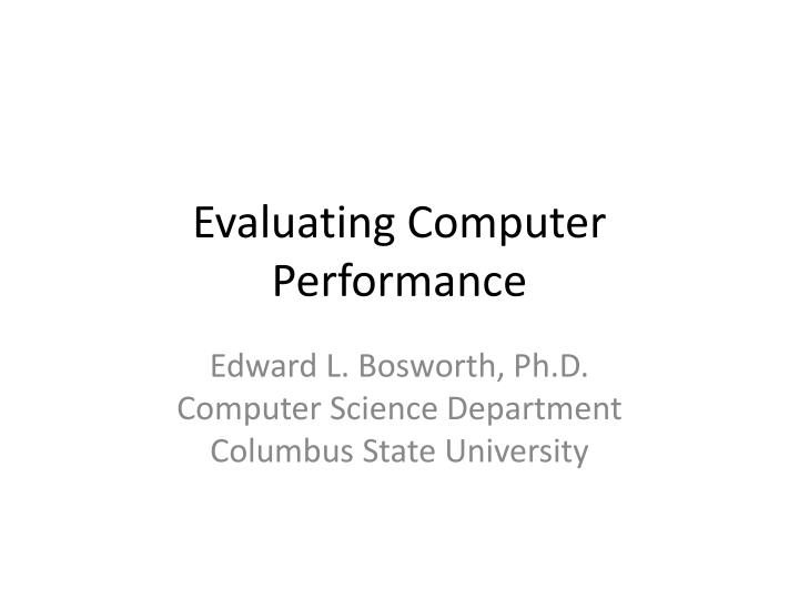 evaluating computer performance n.