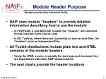 module header purpose