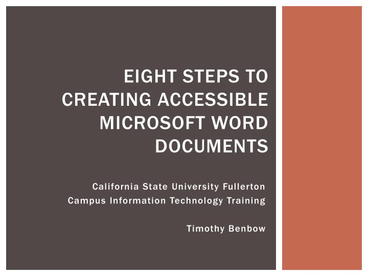 eight steps to creating accessible microsoft word documents n.