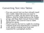 converting text into tables
