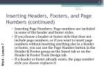 inserting headers footers and page numbers continued1