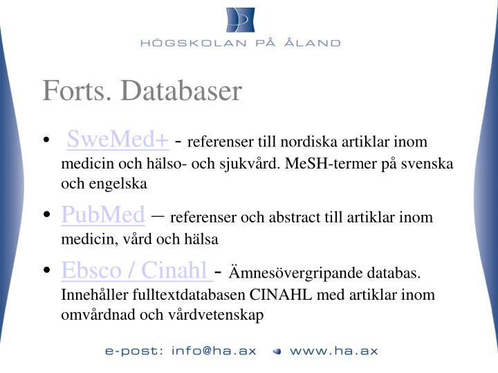 Forts. Databaser