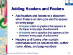 adding headers and footers
