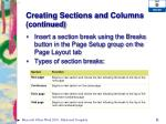 creating sections and columns continued