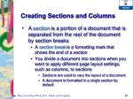 creating sections and columns