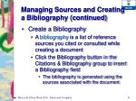managing sources and creating a bibliography continued2