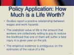 policy application how much is a life worth