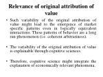 relevance of origina l attribution of value