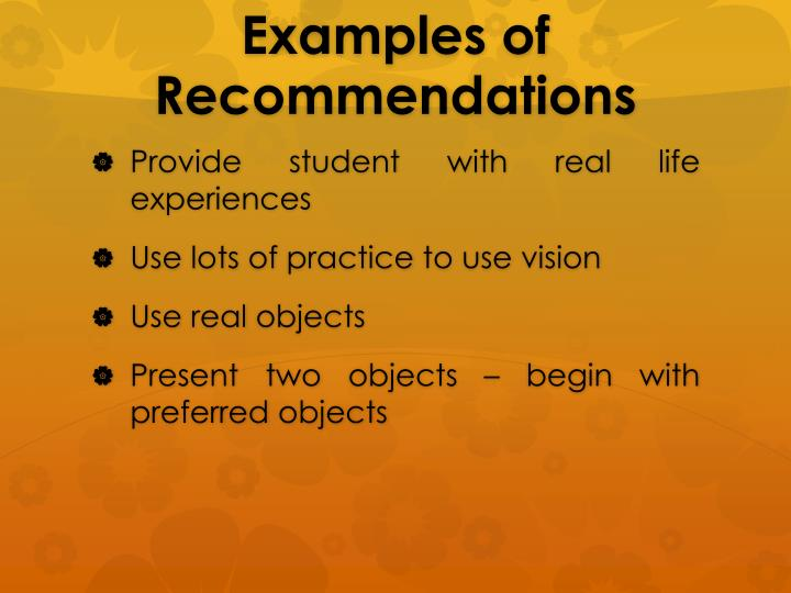 Examples of Recommendations